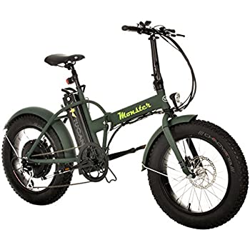 Monster 20 - Bicicleta Eléctrica Plegable - 20 Pulgadas - Motor 500W, 48V-12ah - Display LED con 9 Niveles de Ayuda - Chasis en Aluminio (Verde Bosque)