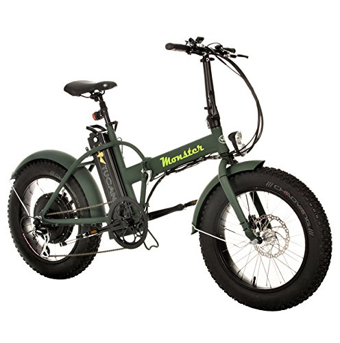 "MONSTER 20 - Die Elektro-Faltrad - The Folding Electric Bike - Räder 20"" - Motor 500W, 48V-12ah - Bordcomputer LCD mit 3 Hilfe - Fahrgestell aus Aluminium (FOREST GREEN)"