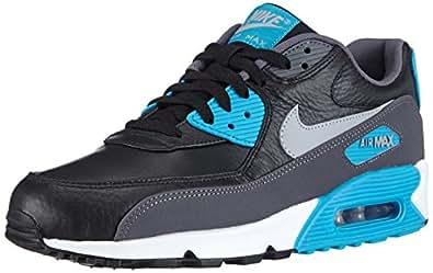Nike Air Max 90 Leather, Chaussures de Running Homme - Noir (Black/Wolf Grey/Dark Grey/Blue Lagoon 004), 45.5 EU