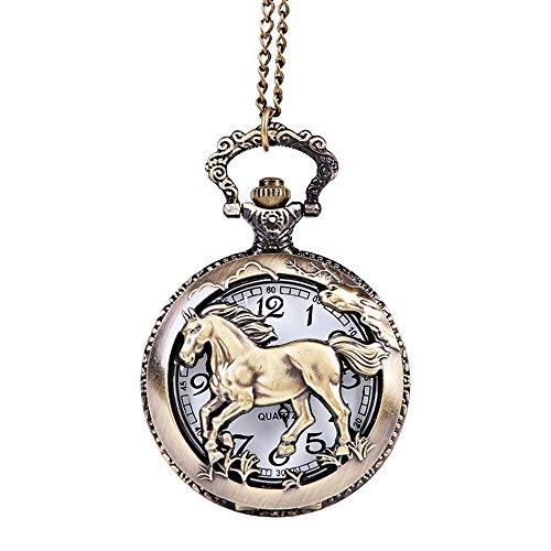 wuayi Herren Taschenuhr Pferd Muster Vintage Kette Uralt Der größte Ketten Anhänger Halskette für Opa Papa Geschenk