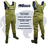 Bison Combinaison en néoprène de 4mm avec bottes, poche pour téléphone portable et semelle avec crampons, 13