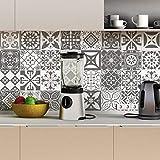 Stickers adhésifs carrelages muraux azulejos - 15 x 15 cm - 30 pièces