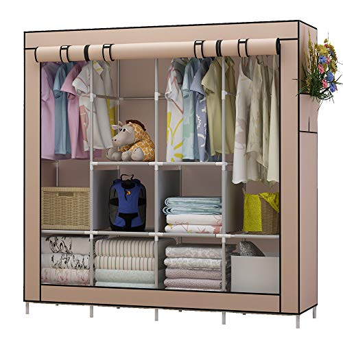 Udear armadio richiudibile cabina salvaspazio guardaroba non tessuto appendiabiti in tessuto con cerniera (marrone)