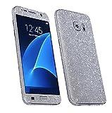 Skins4u® Glitzerfolie Skin Set im Diamond Look Bling Glamour Design Samsung Galaxy S7 EDGE Schutzfolie SILBER Vorder & Rückseite Premium Sticker Glitter