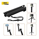 #10: Taslar(TM) 3-Way Grip Arm Tripod Foldable Selfie Stick, Stabilizer Adjustable Monopod Mount Holder, Extendable Folding Arm Handle for Action Cameras and All GoPro Hero with Long Screw (Black)