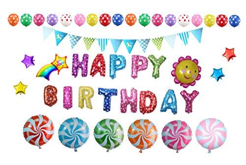 Somine Party Luftballons Set (46 Stücke) - inklusiv die Ballons mit Geformte von Happy Birthday Buchstaben, Sonnenblume, Regenbogen, Lutscher für Partei Dekoration