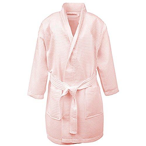Opromo Bademantel Saunamantel Kind Baumwolle Spa Robe mit Taschen Hotel Waffel Kimono Rosa S -