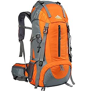 Loowoko Mochila de senderismo, impermeable de 50 l, mochila de viaje, mochila de montañismo, mochila con cubierta para…