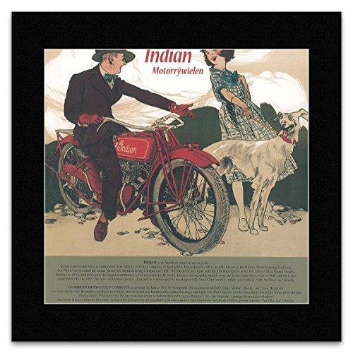 HISTORIC MOTOTRCYCLES - Motorrywielen (Indian) Matted Mini Poster - 28.5x29.5cm
