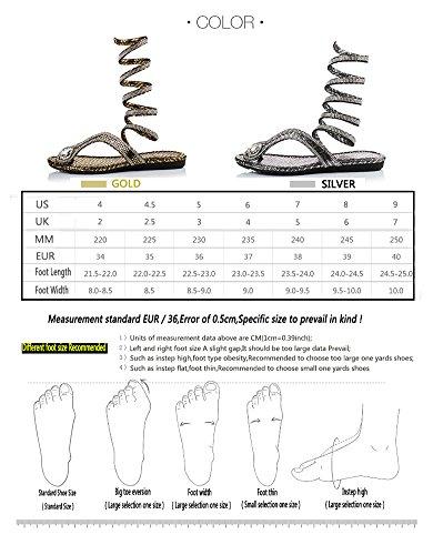 Lifewheel Fashion Trends Serpent Imprimé Sandales Clip orteil Chaussures plates Argent - argent