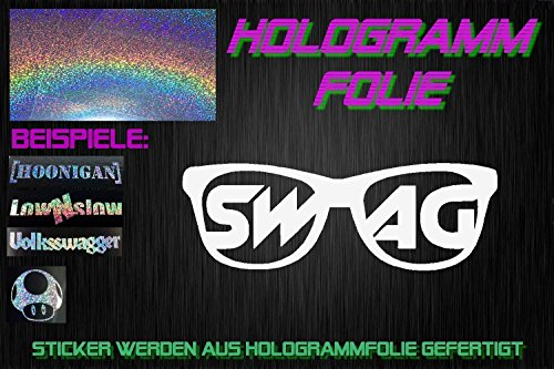 Swag Brille Hologramm Holo Neo Chrom Sticker OEM Fun Aufkleber Hater Domo Bitch Race Power Honda PS JDM