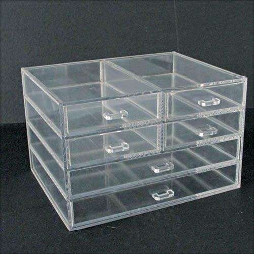 Acryl-Schmuckbox mit 6 Schubladen. Format ca. 165 x 215 x 140 mm - 3 Pack Acryl