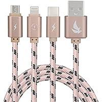 EliteSoft 3 en 1 Câble de Chargement USB Multiple,Haute Vitesse,1.5 Mètre,Rose Doré