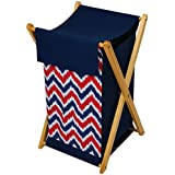 Bacati Navy Blue Red ZigZag Cotton Hamper with Wooden Stand