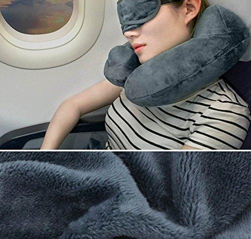 Aufblasbar Reisekissen, CrazyFire Tragbare Aufblasbares U-förmiges Nackenkissen, Reisekissen Kissenautomatisch Bequem für bequemen Schlaf im Flugzeug, Auto oder Zug mit Schlafbrille und Ohrenstöpsel - 6