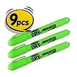 Fullmark Twist et Glide Bible Surligneur à sec, imperméable à l', à jet d'encre sans danger, Neon tout Vert, 9-count kit