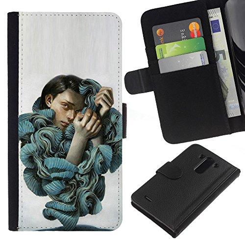 ZCell / LG G3 / Ruffles Fashion Blouse Woman Portrait Art / Wallet Custodia Portafoglio Snello Caso Case Cover Armor / Ruffles Moda Camicetta don