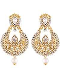 I Jewels Gold Plated Traditional Chandbali Earrings For Women E2341W (White)