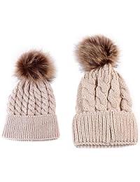 2PCS Baby Mutter Strickmütze Winter Wollmütze Kinder Beanie Ski Mützen Hüte