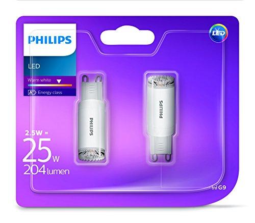 Philips LED 2.5W (25W) G9Capsula Lampadina, Luce Bianca Calda, confezione da 2, G9, 2,5W, confezione da 2
