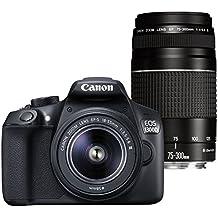 """Canon EOS 1300D - Cámara réflex de 18 Mp (pantalla de 3"""", Full HD, EF-S 18-55 III, EF 75-300 III, WiFi), color negro - Kit con objetivos EF-S 18-55 III y EF 75-300 III"""