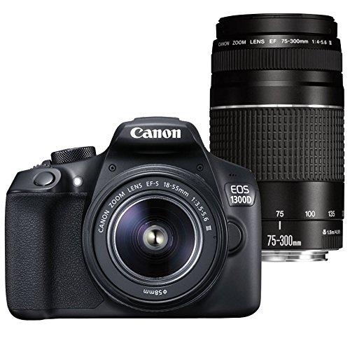 Galleria fotografica Canon EOS 1300D + EF-S 18-55 III + EF 75-300 III SLR Camera Kit 18MP CMOS 5184 x 3456pixels Black - Digital Cameras (18 MP, 5184 x 3456 pixels, CMOS, Full HD, 485 g, Black)