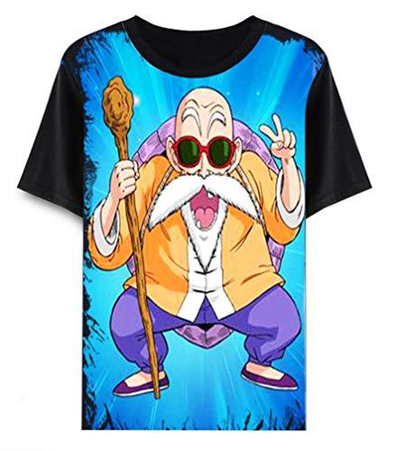 Cosstars Dragon Ball Z Goku Anime T-Shirt Cosplay Kostüm Sommer Kurzarm Tee Top Shirts Schwarz 14 M