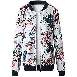 Sunnyuk Mujeres Retro Floral Zipper Bomber Jacket Manga Larga Casual Elegante Abrigo Streetwear