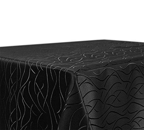 Tischdecke Damast Streifen Wellen Bügelfrei, Eckig Oval Rund Größe und Farbe wählbar, Oval 160x260 cm Schwarz, Beautex (Schwarze Decken Tisch Runde)