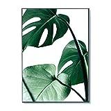 nordic green leaves malerei tropische pflanze natur wandkunst leinwand malerei minimalismus moderne zeichnung für wohnzimmer schlafzimmer küche büro esszimmer dekoration (kein rahmen)