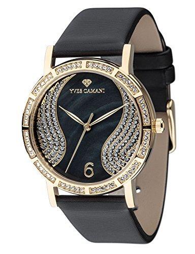 Yves Camani Mademoiselle elegante reloj de pulsera para mujer con esfera nácar y con 60circonitas de piedras besetztes Caja y correa de piel.
