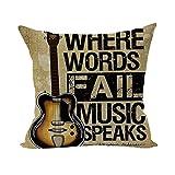 Nunubee Bettwäsche aus Baumwolle Dekorative Kissenbezug Platz Heim Brown Gitarre