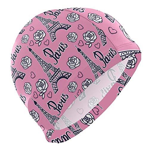 Gebrb Badekappe/Schwimmkappe/Bademütze, Swim Cap Paris Eiffel Tower Pink Mens Swimming Cap Boy Adult Teen Swimming Hat No-Slip