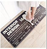 sheng Indeedshare Kitchen Rugs Rubber Backing Decorative Non-Slip Doormat Runner Area Entrance Mats Sets 2 Pieces ( Color : Brown , Size : 47*95cm )