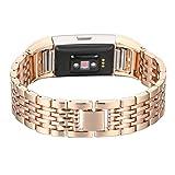 Bracelet pour Fitbit Charge 2 en Cuir,Bracelet Fitbit 2 Charge Homme Or Rose...