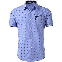 Allegra K Camisa Casual Para Hombres Cuello En Punta Con Botón Mangas Cortas Patrón Del Ancla - Azul/X-Large (US 46, EU 56)