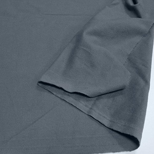 Tolko Stoffe TOLKO Baumwoll-Stoff Meterware | Kuschelig Angerauhter Flanell | Weicher, Warmer Winter-Stoff für Bekleidung, Vorhang, Deko | 155cm breit | Grau