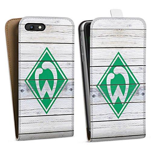 Apple iPhone 5s Silikon Hülle Case Schutzhülle Werder Bremen Holzplanken Fanartikel Downflip Tasche weiß