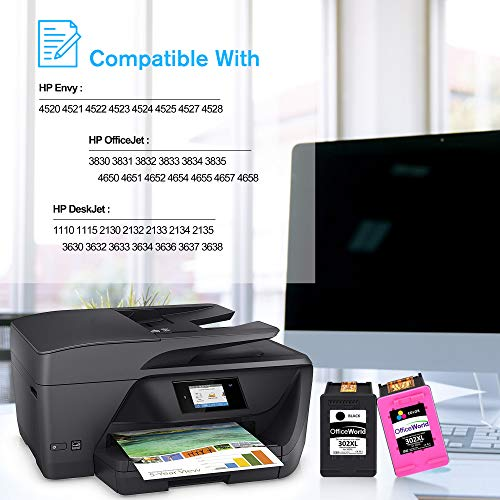 OfficeWorld Remanufacturado HP 302XL 302 XL Cartucho de tinta Paquete de ahorro de 2 (Negro y Tricolor) para HP DeskJet 2130 2132 3630 3632 3636 Officejet 3830 3831 3832 3833 4650 4652 Envy 4525 4527