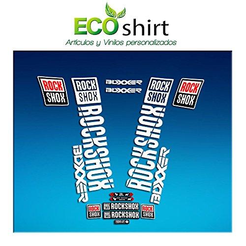 Ecoshirt AM180 Rock Shox Boxxer Stickers pour fourche de vélos, blanc