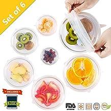 Silicona Stretch tapas Huggers cubre reutilizable para alimentos con mayor agarre sellador sin BPA, 6unidades de varios tamaños por excelgadgets