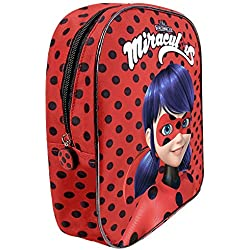 PERLETTI - Prodigiosa Las Aventuras de Ladybug y Chat Noir Pequeña Mochila de Niña para Escuela Guarderia - Bolso Escolar Infantil Rojo Miraculous Ladybug - 30x24x10 cm