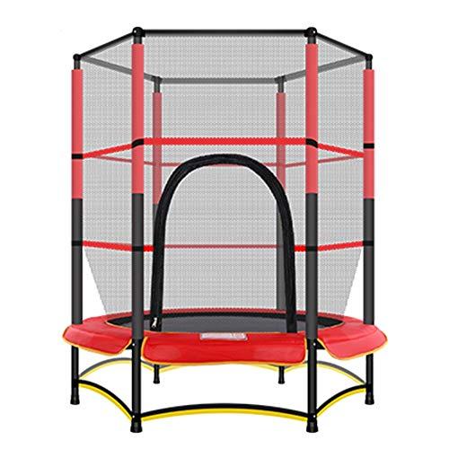 Trampolini, trampolino di sicurezza per bambini con rete per recinzione, 55 pollici / 140 cm, ottimo per interni/esterni - carico massimo 50 kg