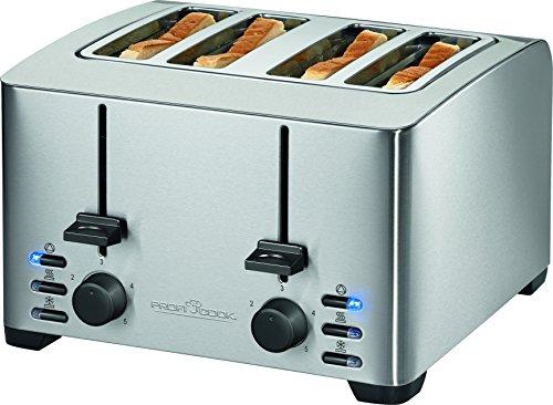 Profi Cook PC-TA 1073 4-Scheiben-Toaster, Edelstahlgehäuse, 2x Brötchenaufsatz, stufenlos einstellbarer Bräunungsgrad, Zentrierfunktion, Krümelschublade