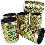 Rastogi Handicrafts Indian Style Stainless Steel Meena Hand Work Set Of 6 Drink Ware Glass Diwali Gift Item