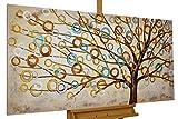 KunstLoft® Acryl Gemälde 'Herbstblues' 140x70cm | original handgemalte Leinwand Bilder XXL | Abstrakter Baum des Lebens Natur Braun auf Beige | Wandbild Acrylbild Moderne Kunst einteilig mit Rahmen