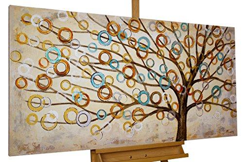 KunstLoft® Acryl Gemälde 'Herbstblues' 140x70cm | handgemalte Leinwand Bilder XXL | Abstrakter Baum des Lebens Natur Braun auf Beige für Küche Schlafzimmer | Wandbild Acrylbild Moderne Kunst einteilig