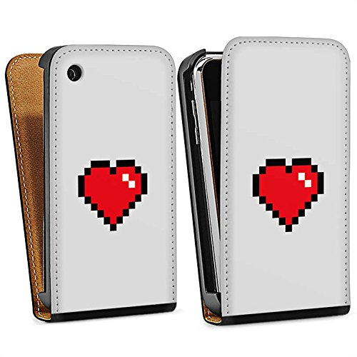 Apple iPhone 5s Housse Étui Protection Coque C½ur 8 bit C½ur Amour Sac Downflip noir