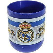 Real Madrid FC officiel de football Écusson en plastique Pot à crayons, bleu, Taille unique