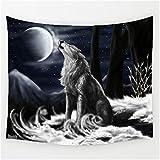LLHBE Tapiz Lobo Vida Animal Impresión 3D Diseño Imagen Bosque Poliéster Tela Tapiz...